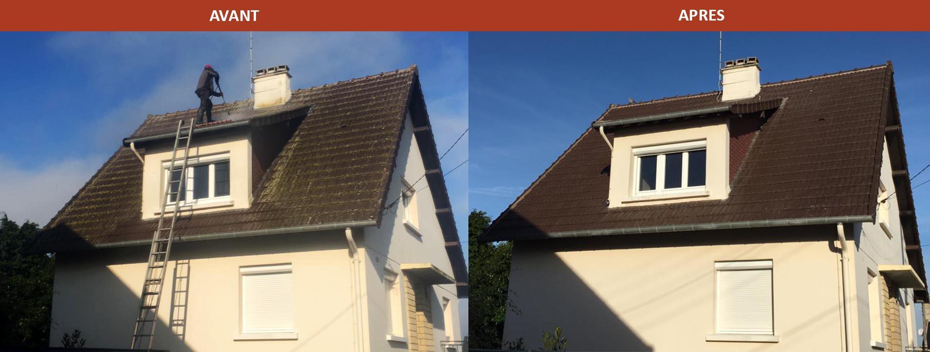 Démoussage de toiture, avant et après